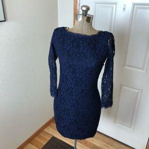 Diane von Furstenburg Zarita Lace Navy Blue Dress